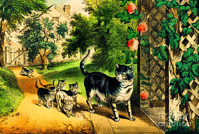 Painting - Cats by Currier and Ives