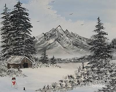 Bob Ross Painting - Cats First Winter Fun by Angela Whitehouse