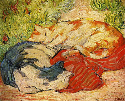 Franz Marc Painting - Cats by Franz Marc