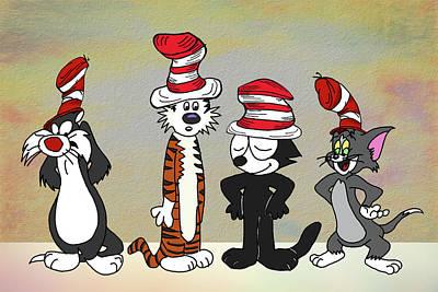 Digital Art - Cats In Hats Too by John Haldane