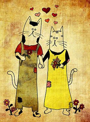 Folk Art Mixed Media - Cats In Love by Jayme Kinsey