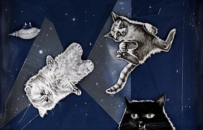 Drawing - Cats In Space by Mary Williams