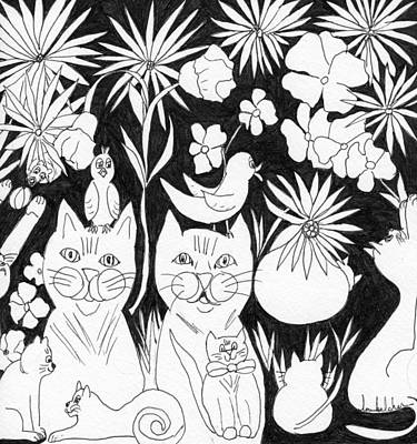 Drawing - Cats In The Garden by Lou Belcher