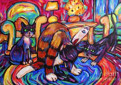 Print featuring the painting Cats In The Lounge by Dianne  Connolly