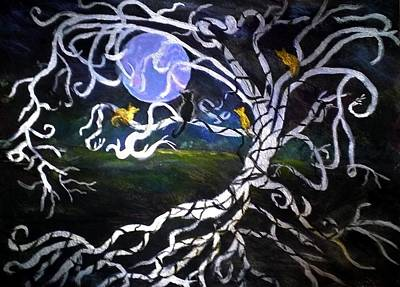 Painting - Cats Meowing At The Moon by Anne Sands