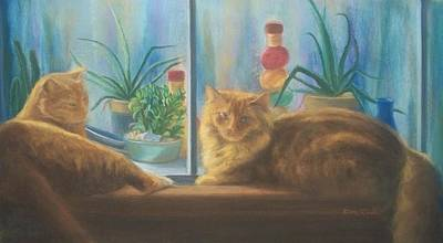 Cats In The Window Art Print by Diane Caudle