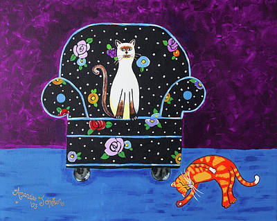 Painting - Cats Just Wanna Have Fun by Amanda Johnson