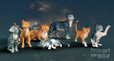 Digital Art - Cats by Jutta Maria Pusl