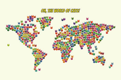 Cats Map Of The World For Kids Art Print by Michael Schmeling