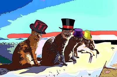 Mixed Media - Party Cats by Charles Shoup