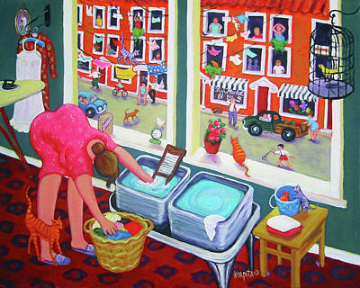 Washday Painting - Cats - Monday Morning Incident by Rebecca Korpita