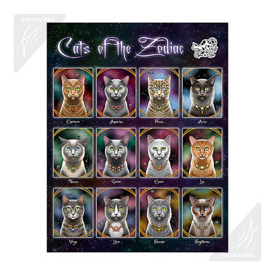 Cats Of The Zodiac Original by Annie Dunn