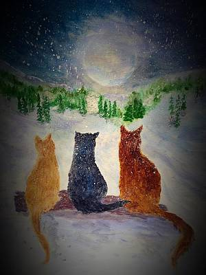 Cats On A Snowy Night Original by Anne Sands