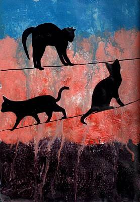 Art Journal Mixed Media - Cats On A Wire by Courtney Putnam