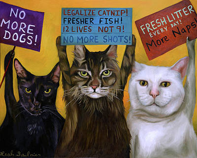 Painting - Cats On Strike 2 by Leah Saulnier The Painting Maniac