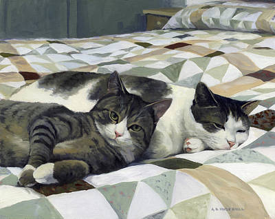 Painting - Cats On The Quilt by Alecia Underhill