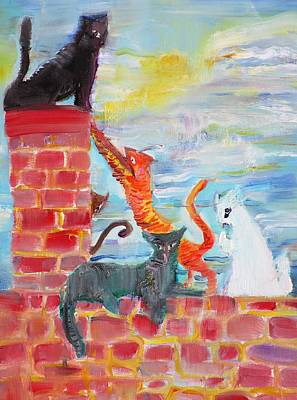 Painting - Cats On The Roof by Fabrizio Cassetta