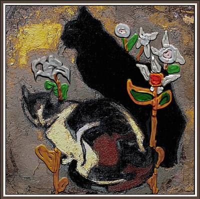 Post Impressionism Mixed Media - Cats by Pemaro