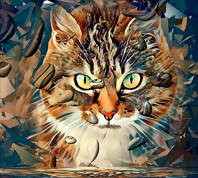 Digital Art - Cats Popart By Nico Bielow by Nico Bielow