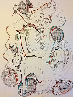 Wall Art - Drawing - Cats by Rosalinde Reece