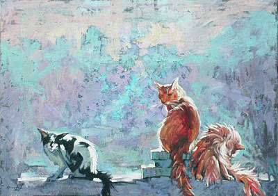 Painting - Cats. Washed By Rain by Anastasija Kraineva