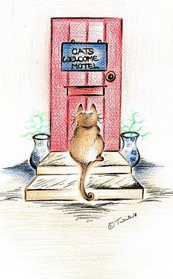 Drawing - Cat's Welcome Motel by Teresa White