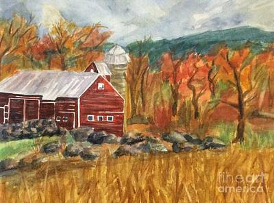 Painting - Catskill Farm And Mountains Cropped by Ellen Levinson