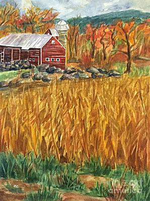 Painting - Red Barn And Cornfields Catskills Autumn by Ellen Levinson