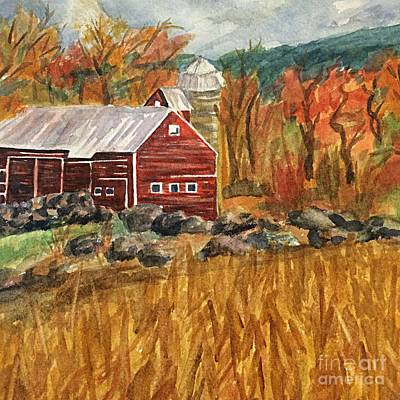 Painting - Catskill Farm And Mountains Square by Ellen Levinson
