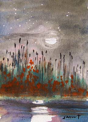 Cattails And Stars Art Print by John Williams
