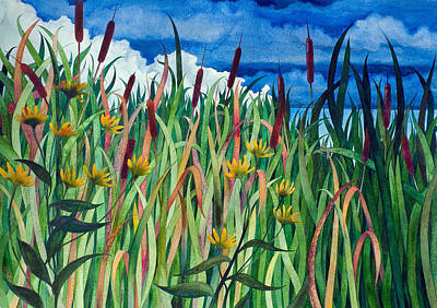 Painting - Cattails by Helen Klebesadel