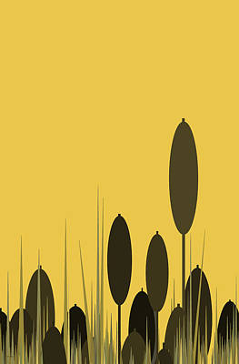 Digital Art - Cattails In A Yellow Sky by Val Arie