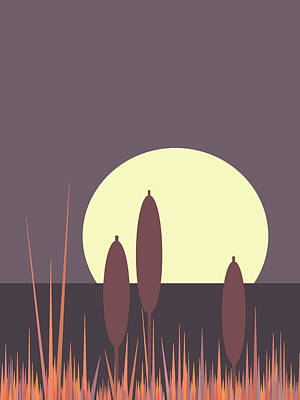 Digital Art - Cattails In The Moonlight by Val Arie