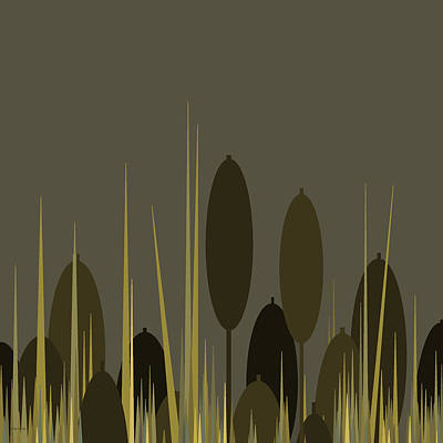 Cattails In The Rain Art Print