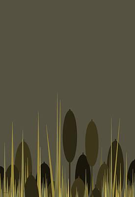 Digital Art - Cattails In The Rain - Vertical by Val Arie