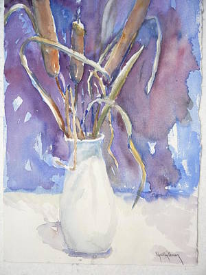 Cattails On White Art Print by Dorothy Herron