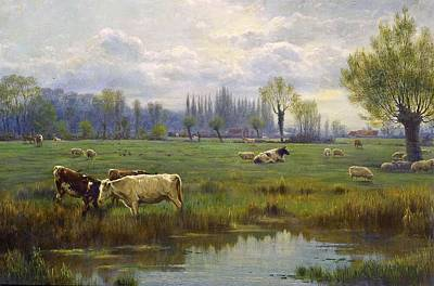 Horse In Water Painting - Cattle And Sheep In A Watermeadow by MotionAge Designs