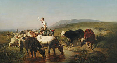Sheep. Landscape Painting - Cattle And Sheep With Donkey by Adolf Schreyer