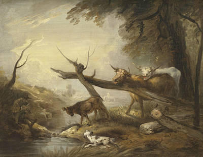 Painting - Cattle By A Stream by Elias Martin