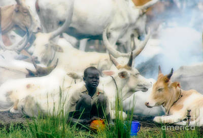 Dinka Photograph - Cattle Camp Living by Irene Abdou