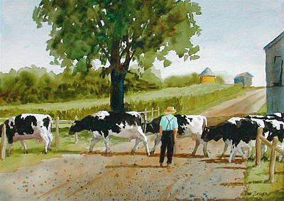 Cow Painting - Cattle Crossing by Faye Ziegler