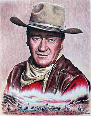 John Wayne Drawings Drawing - Cattle Drive 2 by Andrew Read