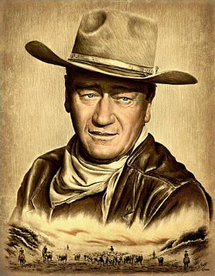 John Wayne Drawings Drawing - Cattle Drive 2 Sepia by Andrew Read