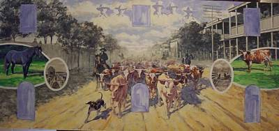 Cattle Drive Down Marion Avenue 1903 Sketch Art Print by Michael Vires