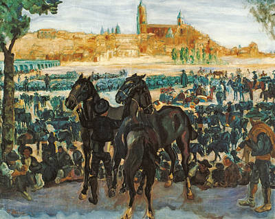 Painting - Cattle Fair In Salamanca by Francisco Iturrino