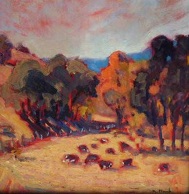 Alla Prima Painting - Cattle In October by Margaret  Plumb