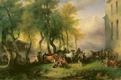 Country Fair Painting - Cattle Market On Maria Plain by Friedrich Gauermann