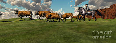 Western Art Digital Art - Cattle Roundup by Corey Ford
