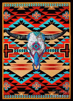 Digital Art - Cattle Skull Art by Walter Colvin