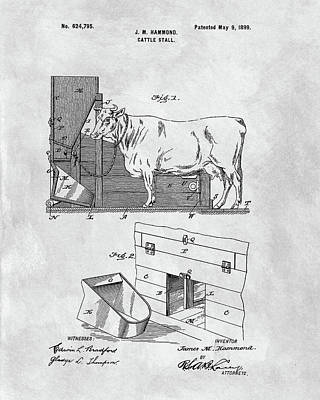 Hamburger Drawing - Cattle Stall Patent by Dan Sproul